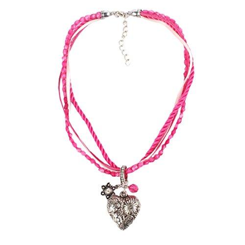 EROSPA® Oktoberfest Hals-Kette mit silbernen Herz-Anhänger Perlen Kordel Damen Schmuck Dirndl Trachtenmode Wiesn