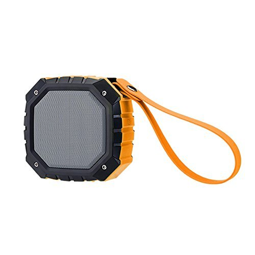POHO Outdoor Waterproof Portable Bluetooth Speaker with FM Radio, Powerful 5W Driver with Enhanced Bass, 8 hour Playtime, for Car, Shower, Sports, Travel, Camping (Orange)