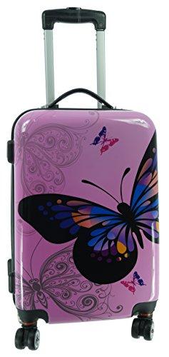Bowatex Valise à roulettes à coque rigide en polycarbonate/carbone Rose Avec motif papillon Taille M
