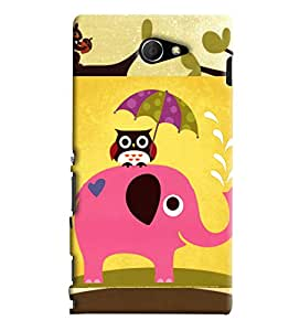 Blue Throat Elephant Carrying Owl On Back Printed Designer Back Cover/Case For Sony Xperia M2