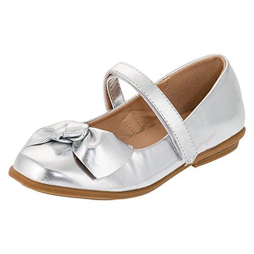 (Festliche Kinder Mädchen Ballerinas Schuhe für Partys und Freizeit in Vielen Farben M297si2 Silber Gr.35)