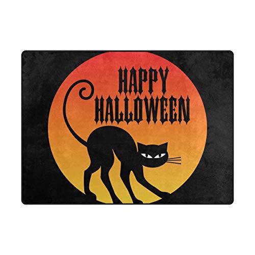 DEZIRO Fußmatte Happy Halloween mit schwarzer Katze für den Außenbereich Teppich Fußmatten Anti-Rutsch-Schuhe Schaber Home Dec, Polyester, 1, 63 x 48 inch