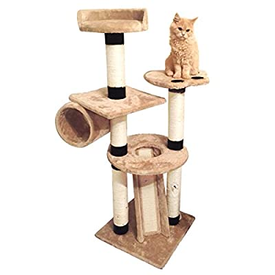 Charles Bentley Pets Deluxe Beige Cat Tree Multi-level Sisal Activity Centre Scratching Post H128Xw45Xd45 Cm