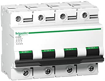 Schneider Electric A9N18391 C120N Disjoncteur Miniature, Courbe D, 4P, 81 mm Hauteur x 108 mm Largeur x 73 mm Profondeur, 80 A Courant, 10kA Pouvoir de coupure, Blanc