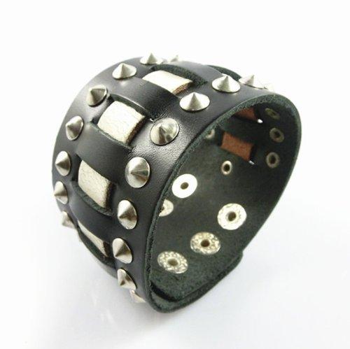 Jirong Punk Nieten Leder Friendship Bracelet Womens Leather Bracelet Cuff Bracelet Unisex Sl2512 (Schwarz)