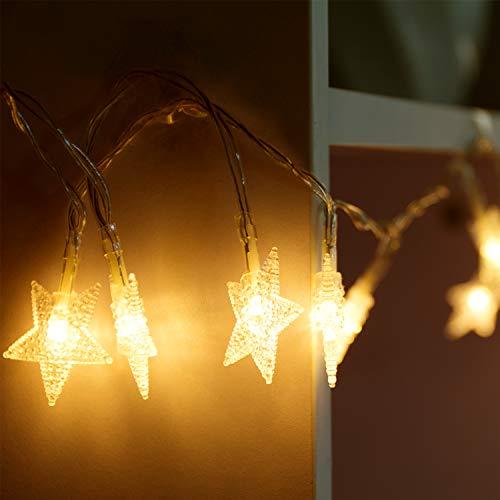 Lichterkette LED Sterne Licht 4M/13.2ft 40 LEDs Sternen Lichterkette warmweiß, Innen Deko Lichterkette, Batterienbetriebene 4.5v LED- Kette, Weihnachtsbeleuchtung für Weihnachten Hochzeit Party Weihnachtsbaum
