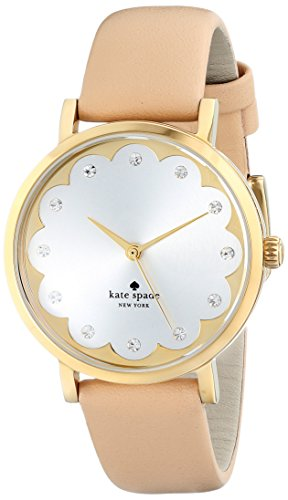Kate Spade Women's 34mm Beige Leather Band Gold Tone Steel Case Quartz White Dial Analog Watch 1YRU0586