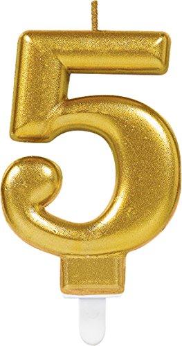 * Zahl 5 * in Gold mit Steckfuß | ca. 10cm x 6cm groß | Deko Goldene Hochzeit Jubiläum Geburtstagskerze Kerze Geburtstag ()