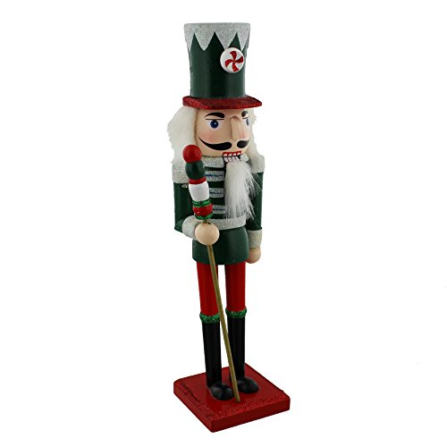 traditionnel en bois de Noël Casse-noisette Soldat Décoration – Vert, Rouge et blanc – Détails à paillettes de Noël – 24 cm