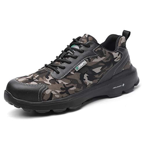 Scarpe Antinfortunistiche Uomo con Punta in Acciaio Scarpe da Lavoro Antinfortunistiche Sportive Sneaker Ultraleggeri Traspirante Nero Camo 36-45 CFW43