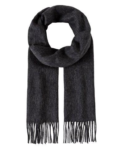ren Damen Schal aus Wolle & Kaschmir klassisch modern elegant edel uni einfarbig warm leicht fein Herrenschal mit Fransen grau ()
