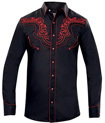 Modestone Men's Long Sleeved Hemd Western Filigree Embroidered Black