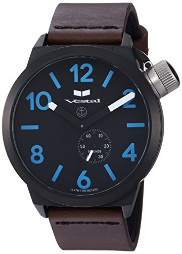 Vestal Men's Canteen Italia' Quartz Stainless Steel and Leather Dress Watch, (Model: CNT3L08) One Size Brown