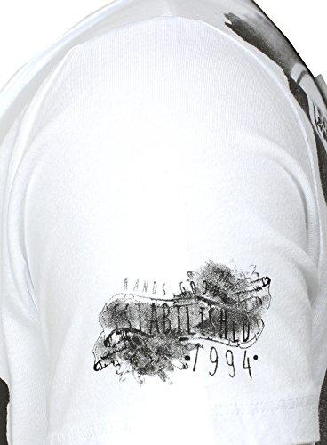 Key Largo Herren T-Shirt GRAPHITE Vintage Print Mandala Bandana Muster Weiß