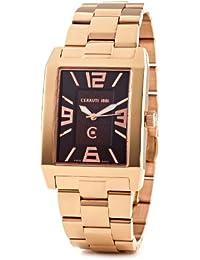 Cerruti CRB014C231B - Reloj analógico de caballero de cuarzo con correa de acero inoxidable dorada - sumergible a 50 metros