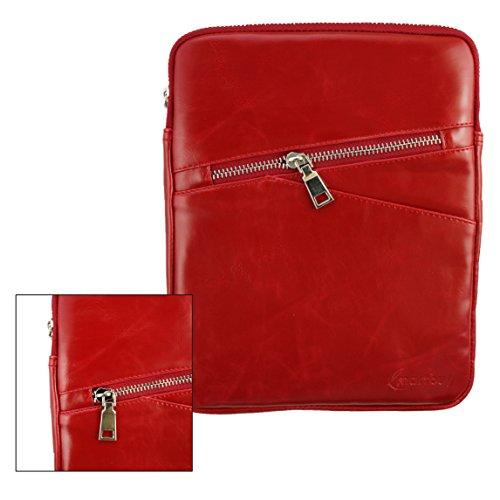 Emartbuy® Rot Crossbody Reisen Messenger Bag Tasche Hülle in Premium PU Leder mit gepolsterten Innenraum und Schulterriemen für geeignet Blaupunkt Polaris QC Tablet 7.85 Zoll
