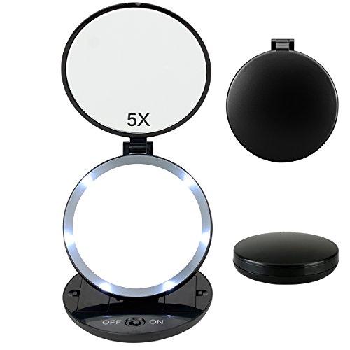 Fypo Kosmetikspiegel,Reisespiegel Schminkspiegel Taschenspiegel mit LED Beleuchtung 1 Fach und 5 Fach Vergrößerung Tragbar Klappbar Batteriebetriebend Schwarz (Handspiegel)