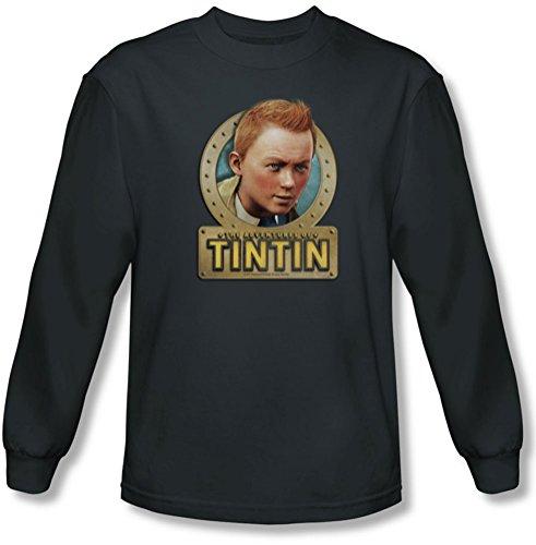 Tintin - Herren Metall Langarm-Shirt in der Holzkohle Charcoal