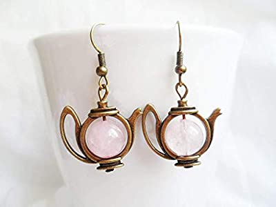 Quirky brass teapot earrings with rose quartz crystal pearls, antique style brass, Alice in Wonderland gifts