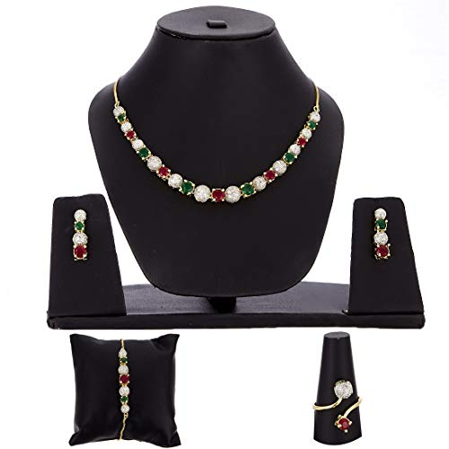 Zeneme American Diamond Traditional Fashion Jewellerry Combo of Necklace Pendant Set/Ring/Bracelet with Earring for Women/Girls (Red & Green)