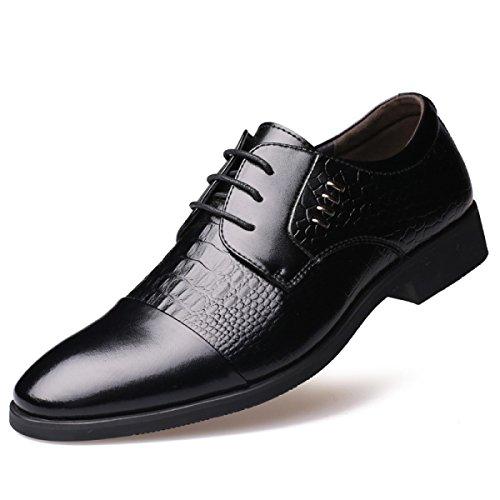 GRRONG Chaussures En Cuir Pour Hommes D'affaires Tenue Pointu Noir Brown Black