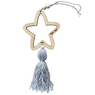 Homeofying Nordic Style Cute Star Shape Wooden Beads Tassel Kids Room Wall Hanging Decor Grey