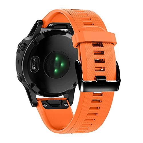 SYY Sport silikon Armband Uhrenband, Herren Damen TPU Universal Armbänder Strap Band Ersatzarmband Uhrenarmband für Garmin Fenix 5/5 Plus Smart Watch (Orange)