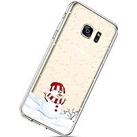 Handytasche Samsung Galaxy S7 Crystal Clear Durchsichtige Hülle Ultradünn Transparent Handyhüllen TPU Bumper Case Silikon Hülle Cover,Schneemann