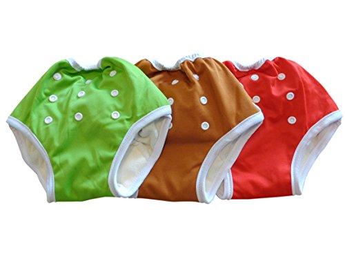 Three Little Imps Culottes d'apprentissage à fermeture 8-35+ livres rouge / vert / marron - Set de 3