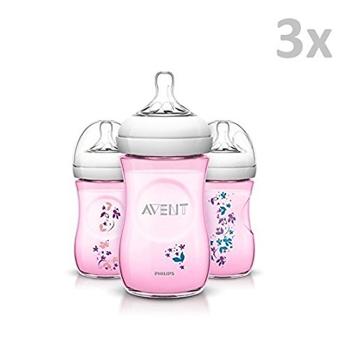 PHILIPS AVENT SCF620/17 - Limited Edition'PINK' 3x Flaschen mit silikon - ventilsauger, 260ml, 9oz/1M+