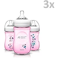 """PHILIPS AVENT SCF620/ 17 - Limited Edition """"PINK"""" 3x Plastic Bottles with silicone valve suction, 260ml, 9oz/ 1M+"""