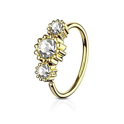 Tapsi´s Coolbodyart® Hoop Ring Nasenpiercing Ohr Cartilage Ring Gold mit Zirkonia in klar