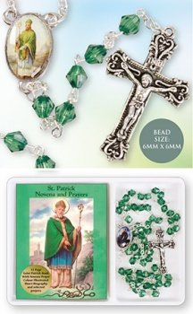 Devotional Green Glass St.Patrick Rosary and Book & Lourdes Prayer Card