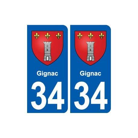 34Gignac escudo ciudad adhesivo placa Stickers