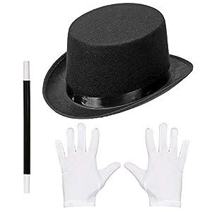 WIDMANN 00130 Juego de magos, cilindro, guantes y varita mágica, unisex, para niños, negro/blanco, talla única