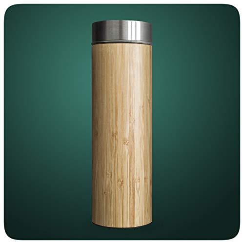 PRECORN Tee-to-go-Flasche Bambus Teeflasche 450ml doppelwandig Edelstahl Sieb & Deckel Thermobecher