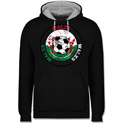 Fußball - Wales Kreis & Fußball Vintage - Kontrast Hoodie Schwarz/Grau Meliert