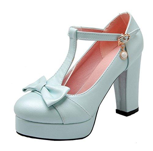 YE Damen Süß T-Strap Blockabsatz High Heels Plateau Pumps mit Schleife 10cm Absatz Schuhe Blau