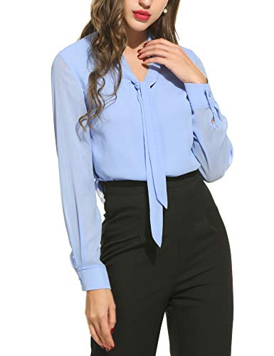 Beyove Damen V-Ausschnitt Schluppenbluse Chiffonbluse Langarmshirt Basic Bluse Einfarbig