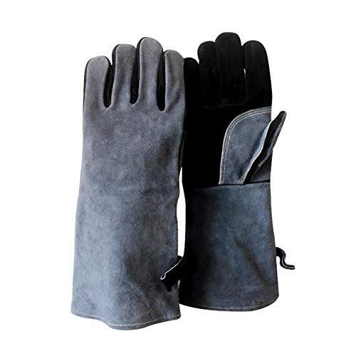 Homeit Forge Welding & BBQ Leather Gloves, High Temperature Resistance with Long...