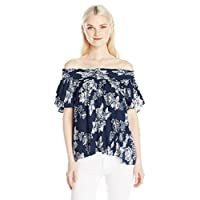 Love By Design Junior's Short Sleeve Off The Shoulder Top, Secret Floral, L