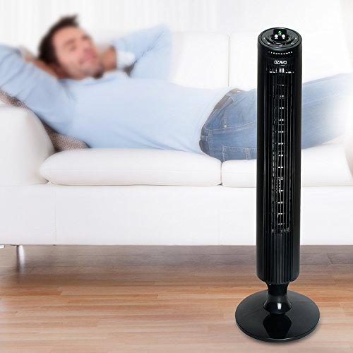 OZAVO Ventilador de Torre Oscilante con Control Remoto Temporizador Programable 3 Velocidades 45 W Oscilación de 70º para Casa y Oficina 33 Pulgadas Color Negro