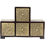 APKAMART Four Drawer Hand Crafted Brass Embellished Decorative Box For Table Decor And Giftsÿ