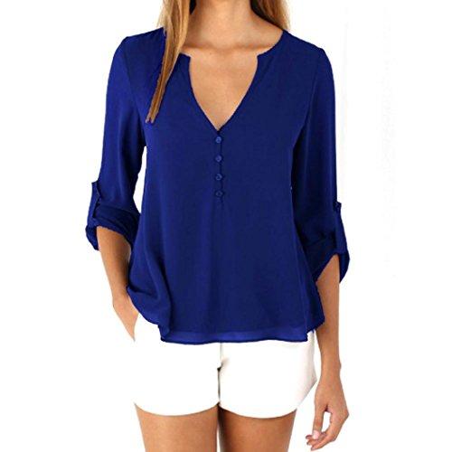 ESAILQ Damen Basic V-Ausschnitt Kurzarm T-Shirt Falten Tops mit Knopf(L,Blau)