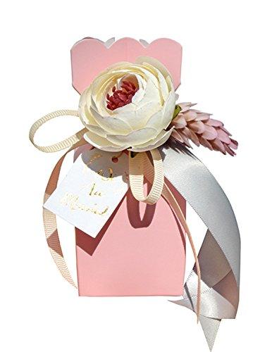 10Stücke Babydusche Band Bevorzugungsgeschenk Konfektschachteln Hochzeit Bevorzugungen und Geschenke für die Hochzeit (pink) (Band Hochzeit Personalisiert Für Bevorzugungen)