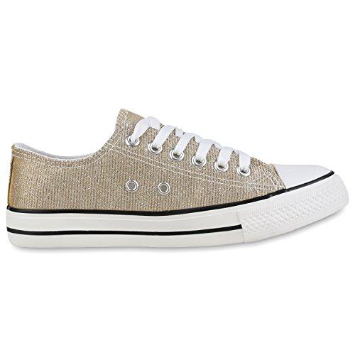Elegante Damen Sneakers low | Glitzer Canvas Schuhe | Turnschuhe Freizeit | Gr. 36-41 Gold-Weiss