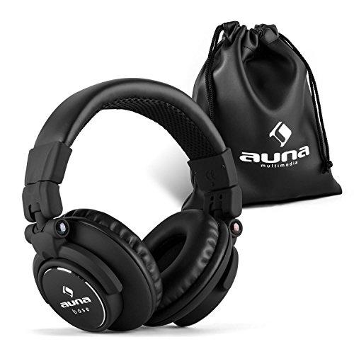 auna Base • DJ Kopfhörer • Over Ear Headphones • geschlossene Bauweise • klappbar • faltbar • 96 dB Empfindlichkeit • gepolsterter Bügel aus Edelstahl • austauschbares Kabel • schwarz (Liege Schwarz Gepolsterten)
