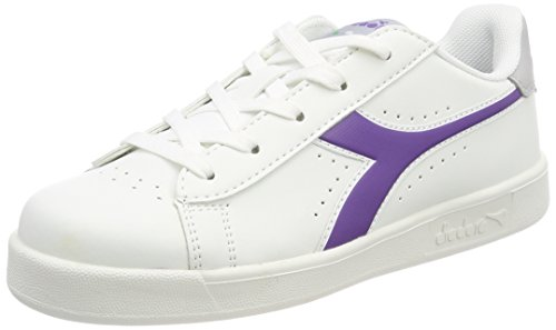 Diadora game p gs, sneaker bambino, bianco (bianco viola), 38 eu