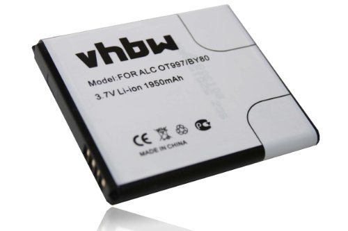vhbw Akku 1950mAh für Handy Alcatel OneTouch 997, 997D, OT-997, OT-997D, OT-998, One Touch X Pop, TCL S710, TCL S800, Base Lutea 3 III wie TLiB32E.