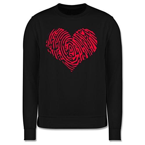 Statement Shirts - Herz Fingerabdruck Rot - Herren Premium Pullover Schwarz